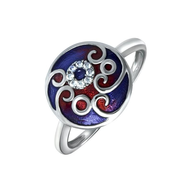 Pierścionek srebrny 925 z kolorowa emalia ręcznie malowany z cyrkoniami.