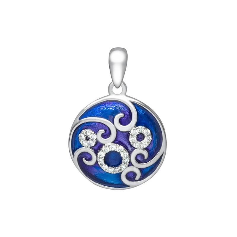 Piękny okrągły wisiorek ze srebra 925 z kolorowa emalią i cyrkoniami w niebieskich odcieniach.