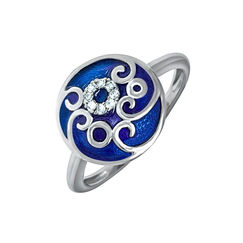 Pierścionek ze srebra 925 z ręcznie malowaną kolorową emalią i cyrkoniami.