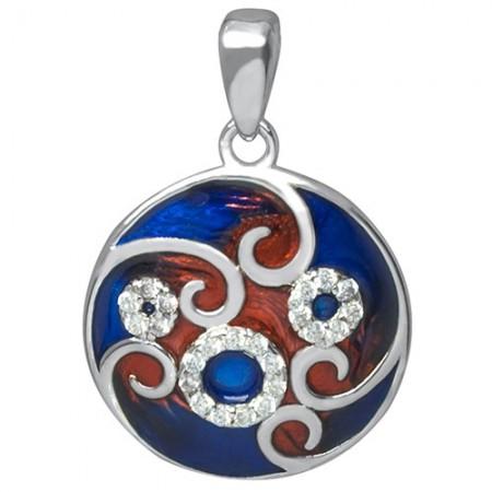Piękny okrągły wisiorek ze srebra 925 z ręcznie malowaną emalia i cyrkoniami w odcieniach czerwono-granatowym.