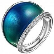 Piękny pierścionek ze srebra 925 z kolorowa emalia i cyrkoniami.