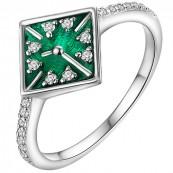 Srebrny 925 pierścionek o kształcie tarczy zegara z kolorową emalią i cyrkoniami.