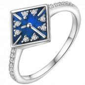 Piękny pierścionek ze srebra próby 925 z kolorowa emalia i cyrkoniami.