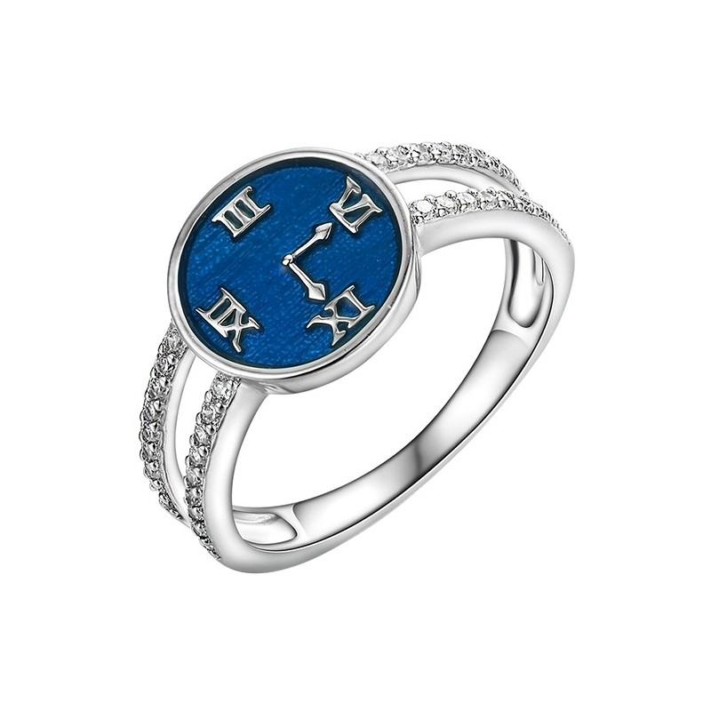 Pierścionek ze srebra o kształcie tarczy zegara z ręcznie malowaną emalią i cyrkoniami.