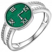Piękny pierścionek ze wzorem tarczy zegara z ręcznie malowaną zieloną emalia i cyrkoniami.
