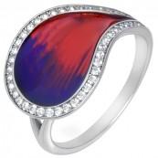 Pierścionek w kształcie łezki ze srebra 925 z kolorową emalią i cyrkoniami.