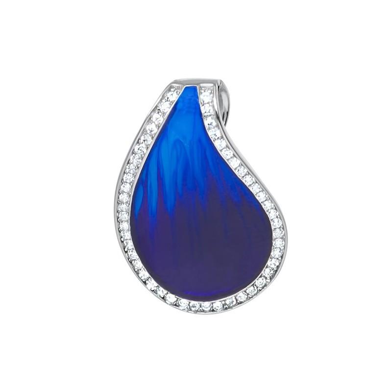 Piękny wisiorek ze srebra próby 925 z niebieską emalią i cyrkoniami.