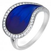 Piękny pierścionek ze srebra 925 z granatową emalią i cyrkoniami.