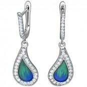 Piękne dłuższe kolczyki ze srebra 925 z niebieską emalią i cyrkoniami.