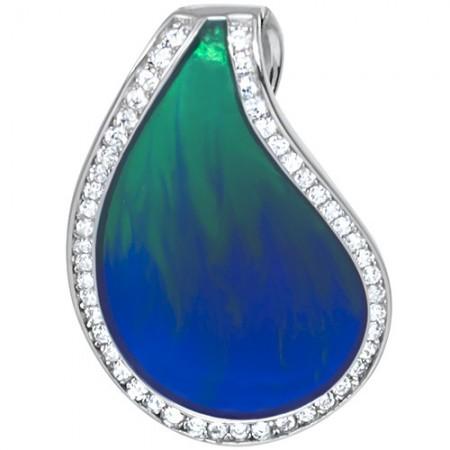 Piękny wisiorek ze srebra 925 z kolorowa emalia w odcieniu niebiesko-zielonym i cyrkoniami.