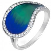 Piękny pierścionek o kształcie łezki ze srebra 925 ręcznie malowany kolorową emalią i cyrkoniami.