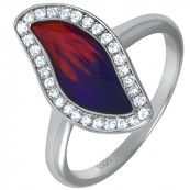 Piękny srebrny 925 pierścionek z kolorowa emalią i cyrkoniami.