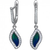 Piękne dłuższe kolczyki ze srebra 925 z niebieską-zieloną emalią i cyrkoniami.