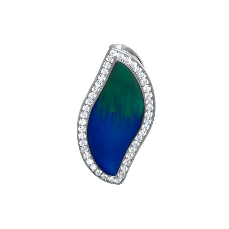 Piękny wisiorek ze srebra próby 925 z kolorową emalią zielono-niebieską i cyrkoniami.