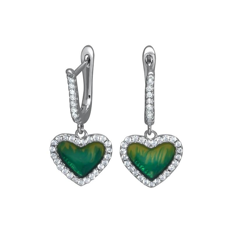 Piękne dłuższe kolczyki serca ze srebra 925 z zieloną emalią i cyrkoniami.