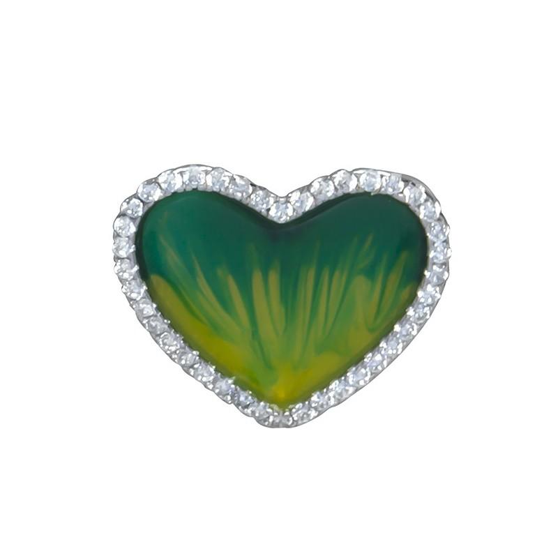 Piękny wisiorek serce ze srebra próby 925 z zieloną emalią i cyrkoniami.