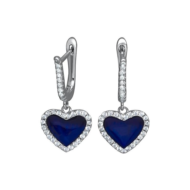 Piękne dłuższe kolczyki serca ze srebra 925 z niebieską emalią i cyrkoniami.