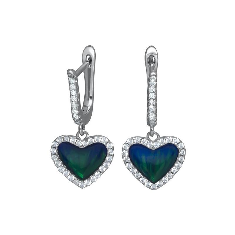Piękne dłuższe kolczyki serduszka ze srebra 925 z niebieską emalia i cyrkoniami.