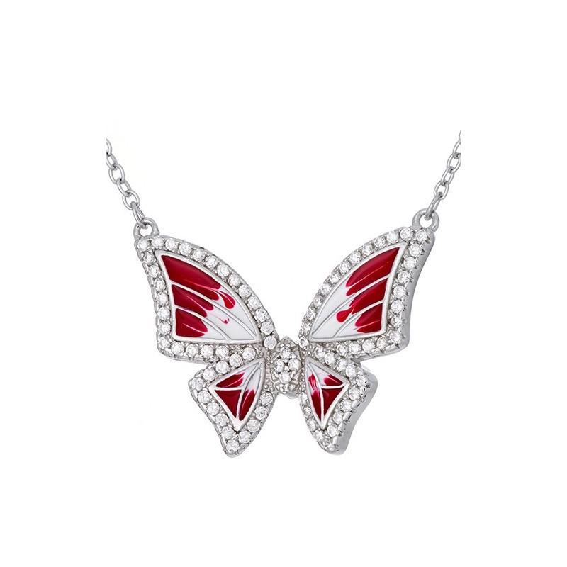Naszyjnik motylek ze srebra 925 z ręcznie malowaną czerwono-białą emalią i cyrkoniami.