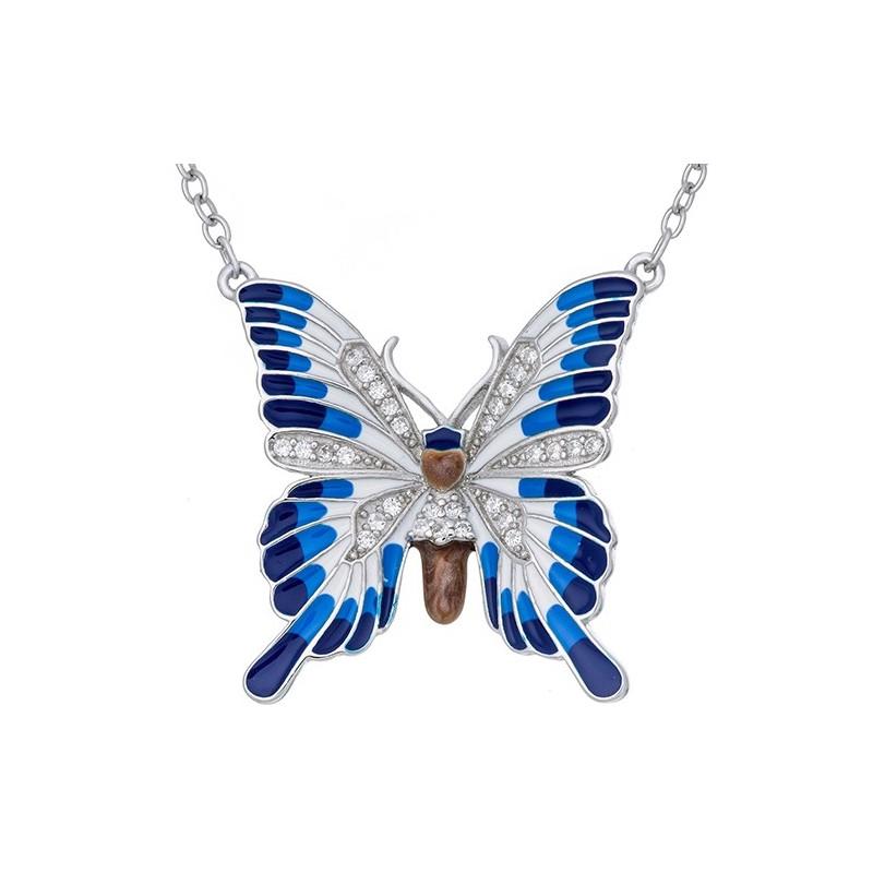 Naszyjnik ze srebra 925 z zawieszka o kształcie dużego motyla z kolorową emalią i cyrkoniami.