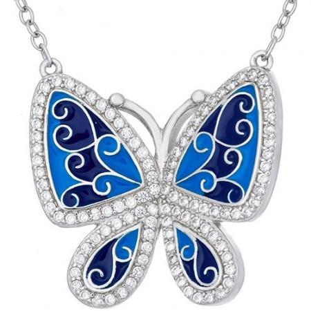 Naszyjnik ze srebra 925 z dużym motylem ręcznie malowanym emalią w niebieskich odcieniach i cyrkoniami.