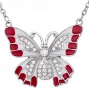 Naszyjnik ze srebra 925 o kształcie dużego motyla malowanego ręcznie emalia i cyrkoniami.