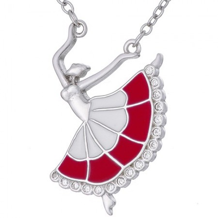 Naszyjnik srebrny 925 z zawieszka w kształcie baletnicy ręcznie malowanej kolorową emalią i cyrkoniami.