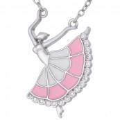 Naszyjnik ze srebra 925  o kształcie baletnicy z ręcznie malowana emalią w różowo-białym kolorze i cyrkoniami.
