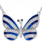 Naszyjnik motylek ze srebra 925 z ręcznie malowaną emalią w kolorze niebieskim i cyrkoniami.
