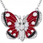 Naszyjnik motylek ze srebra 925 z ręcznie malowaną emalią w kolorze czerwonym, czarnym i białym oraz  cyrkoniami.