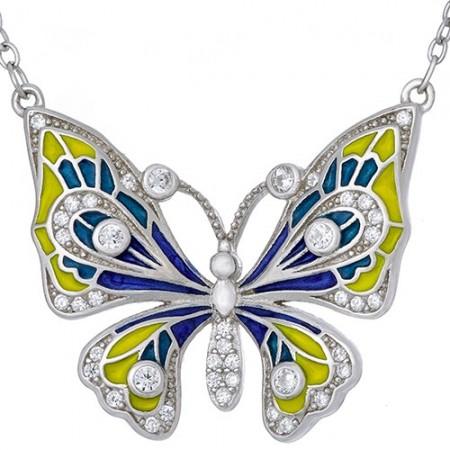Piękny naszyjnik motylek z kolorową emalią ręcznie malowaną i cyrkoniami.