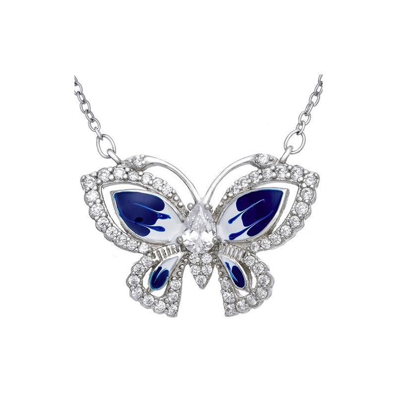 Piękny wisiorek motylek  ze srebra 925 z ręcznie malowaną kolorowa emalią  w kolorze niebiesko-białym i cyrkoniami.