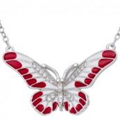 Piękny wisiorek motylek  ze srebra 925 z ręcznie malowaną kolorowa emalią  w kolorze czerwono-białym i cyrkoniami.