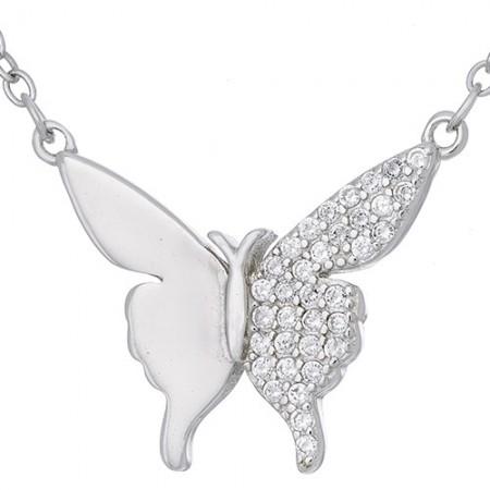 Naszyjnik ze srebra próby 925 o kształcie motylka z cyrkoniami.