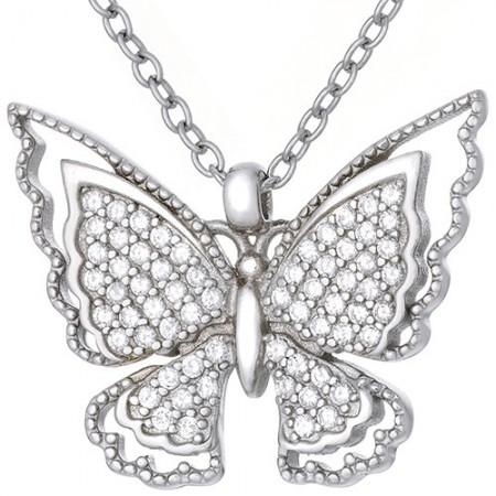 Naszyjnik ze srebra 925 z z dużym motylkiem zdobionym cyrkoniami.