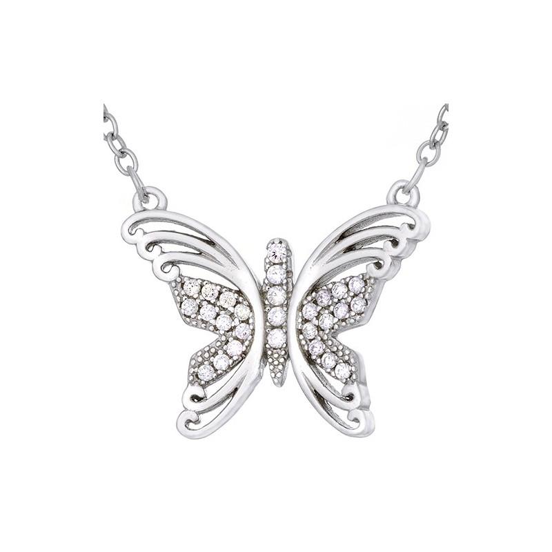 Naszyjnik ze srebra próby 925 o kształcie dużego motylka ozdobionego cyrkoniami.