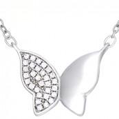 Naszyjnik ze srebra 925 o kształcie motylka z cyrkoniami.
