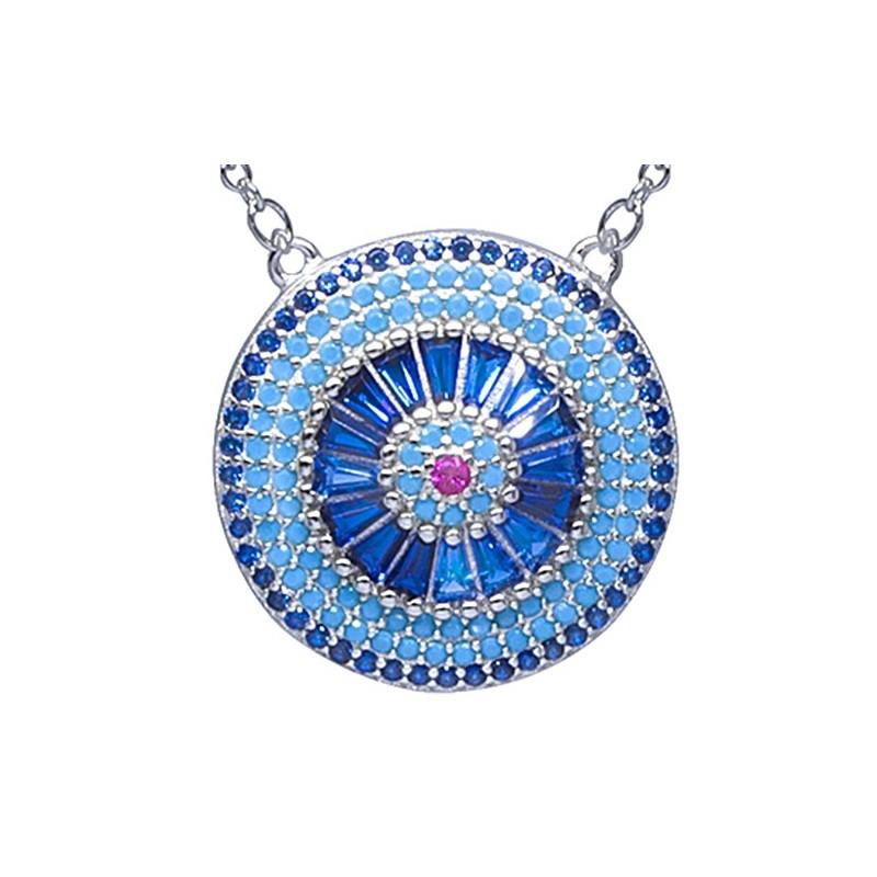 Naszyjnik ze srebra 925 z dużą zawieszką w okrągłym płaskim kształcie z kilkoma rzędami kolorowych cyrkonii.
