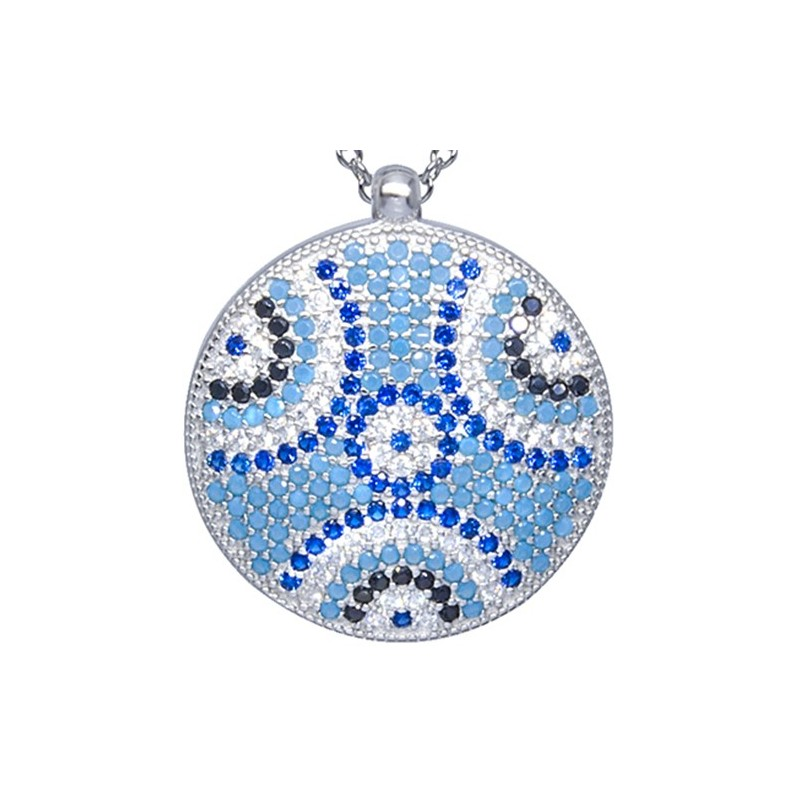 Naszyjnik ze srebra 925 z dużą zawieszką o kształcie talerza z ogromna ilością kolorowych cyrkonii.