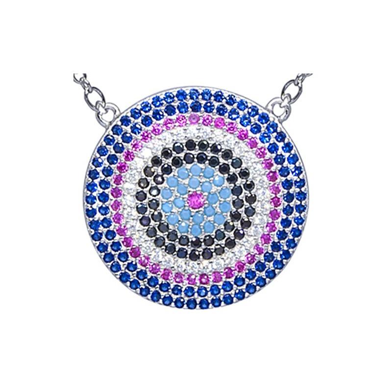 Naszyjnik ze srebra z dużą zawieszką o kształcie talerza z kilkoma rzędami kolorowych cyrkonii.