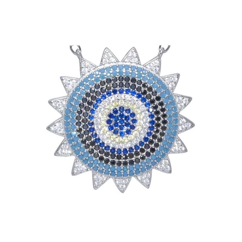Naszyjnik ze srebra 925 z dużą zawieszka w okrągłej płaskiej formie słoneczka z kilkoma rzędami kolorowych cyrkonii.