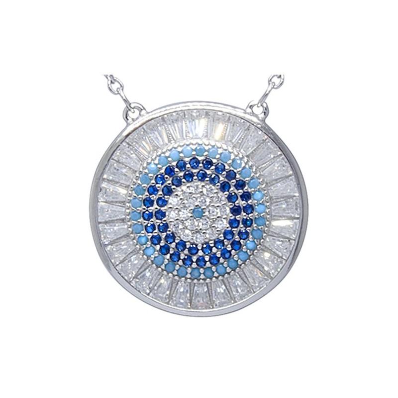 Piękny naszyjnik ze srebra 925 z duża zawieszką w kształcie talerza z kilkoma rzędami kolorowych cyrkonii.