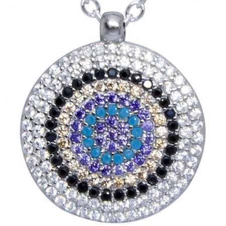Piękny naszyjnik ze srebra 925 z zawieszką w kształcie talerza z ośmioma rządami kolorowych cyrkonii.