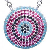 Naszyjnik ze srebra próby 925 z dużą okrągłą zawieszką z kilkoma rzędami kolorowych cyrkonii.