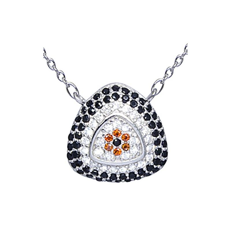 Naszyjnik ze srebra 925 z zawieszką w lekko trójkątnym kształcie z kilkoma rzędami kolorowych cyrkonii.