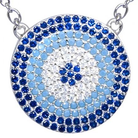 Naszyjnik ze srebra 925 z dużą zawieszką w kształcie talerza z kilkoma rzędami kolorowych cyrkonii.