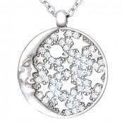 Naszyjnik ze srebra próby 925 z okrągłą zawieszką o kształcie księżyca i gwiazdek z cyrkoniami.