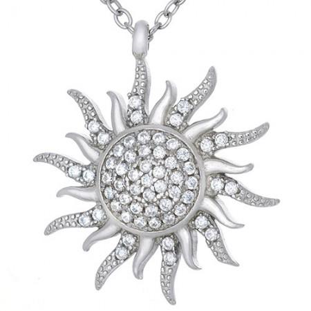 Naszyjnik srebrny 925 słońce celebrytka z cyrkoniami.