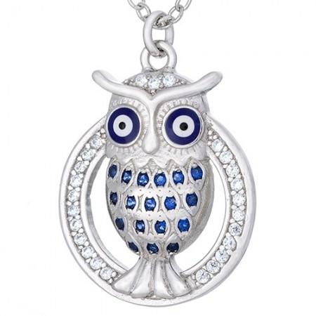 Naszyjnik srebrny 925 sowa z niebieską emalią i cyrkoniami.