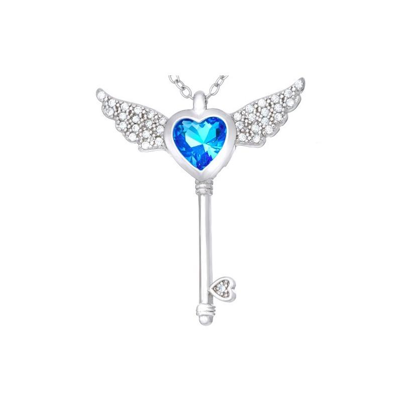 Naszyjnik srebrny  próby 925 serce kluczyk z cyrkoniami i rozłożystymi skrzydłami.